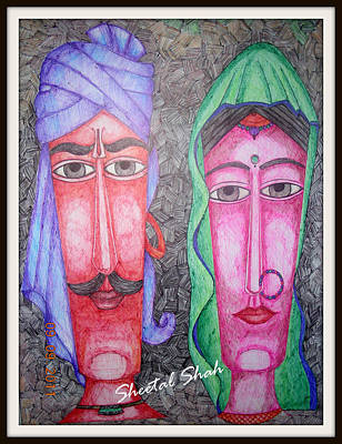 Ball Point Pen Painting - Faces by Sheetal Shah