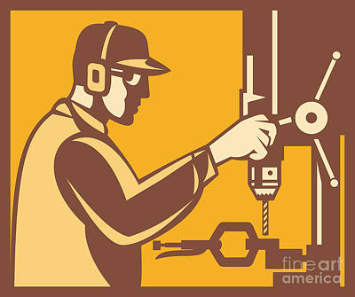 Drill Presses Digital Art - Factory Worker Operator With Drill Press Retro by Aloysius Patrimonio