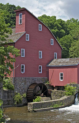 Faded Red Water Mill  Art Print by David Letts