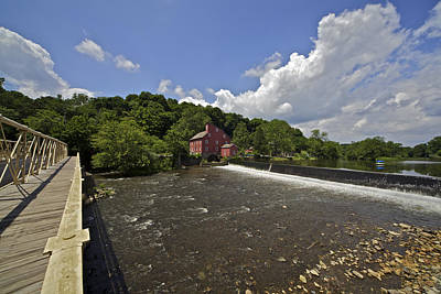 Faded Red Water Mill On The Dam Of The Raritan River Art Print by David Letts