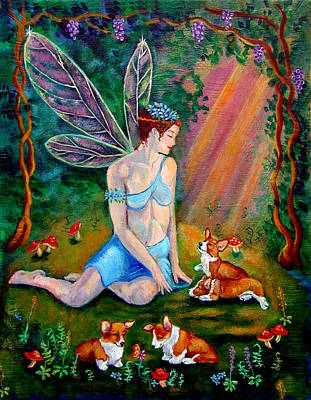 Fae And Corgi Pups Art Print by Lyn Cook