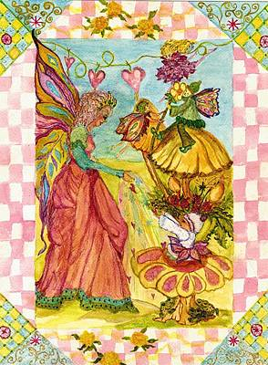 Faeries And Frogs Fantasy Print by Cheryl Carrabba
