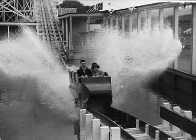 Rollercoaster Photograph - Fairground Splash by Bert Hardy