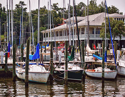 Digital Art - Fairhope Yacht Club Sailboat Masts by Michael Thomas