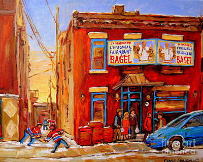Painting - Fairmount Bagel Montreal Winter Street Scenes by Carole Spandau