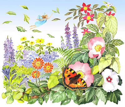 Painting - Fairy Flying Over Flowers by Maureen Carter