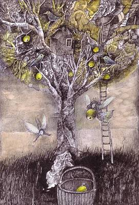 Fairy Drawing - Fairy Harvest by Ladka Fruehaufova Prague Art