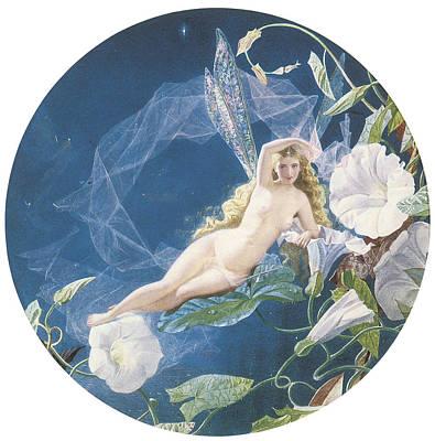 Nude Fairy Painting - Fairy Lying On A Leaf by John Simmons