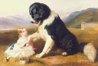 Newfoundland Puppy Painting - Faithful Friends by English School