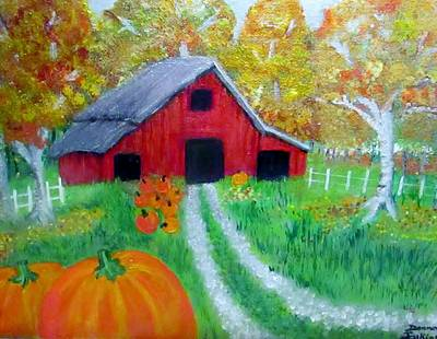 Fall And Pumpkin Harvest Art Print by Donna Jenkins