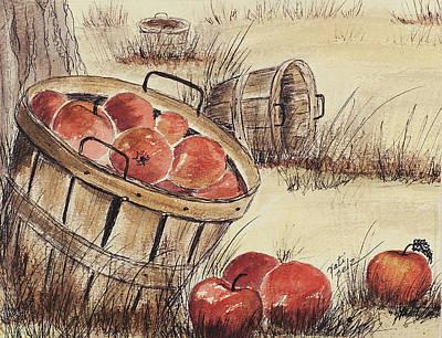 Mixed Media - Fall  Apple Harvest by Pati Pelz