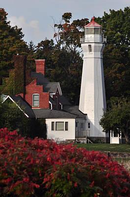 Michigan Port Sanilac Photograph - Fall At Port Sanilac Lighthouse by Ginger Harris