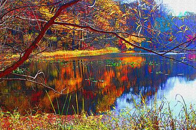 Fall At Surprise Lake Art Print by Michael Dantuono