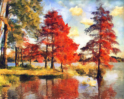 Painting - Fall At Swan Lake by Jai Johnson