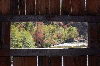 Photograph - Fall Bridge Window  by Holly Blunkall