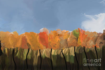 Photograph - Fall Colors Tree Line by Dan Friend