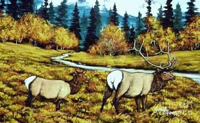 Fall Elk Art Print by Bobbylee Farrier