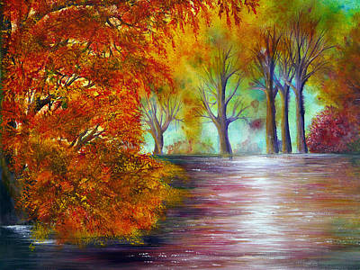 Forest Painting - Fall Fire by Ann Marie Bone