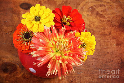 Fall Flower Arrangement Art Print by Verena Matthew