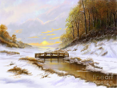 Cloudy Day Painting - Fall Into Winter by Sena Wilson