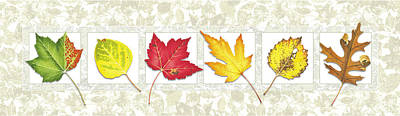 Fall Leaf Panel Art Print by JQ Licensing
