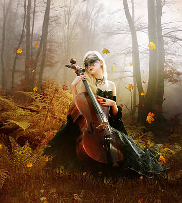 Cello Digital Art - Fall Melody by Mary Hood