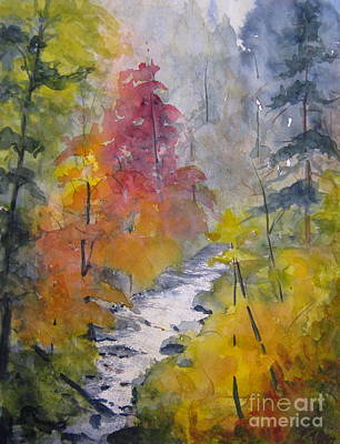 Fall Mountain Stream Art Print by Gretchen Allen
