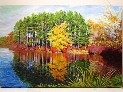 Painting - Fall On Lake Kanawayke by Nicolas Bouteneff