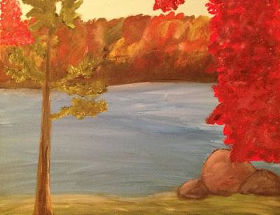 Art Print featuring the painting Fall On River by Paula Brown