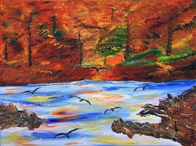 Fall On The Bow River Art Print by James Bryron Love