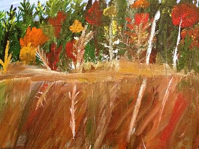 Painting - Fall Reflection On Lake by Paula Brown