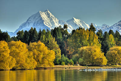 Fall Willow And Cottonwoods At Lake Art Print by Colin Monteath