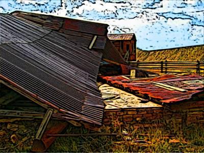Fallen Building  Art Print by Howard Perry
