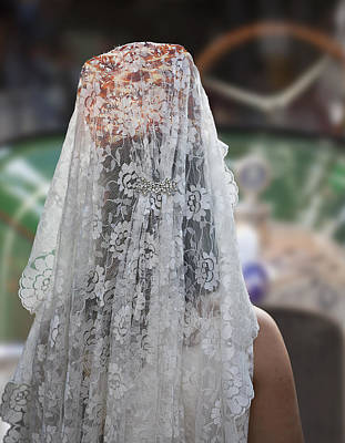 Photograph - Fallera With White Mantilla During San Cristobal Fiesta. Valenci by Juan Carlos Ferro Duque