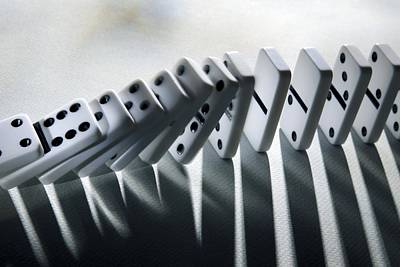 Falling Dominoes Art Print by Victor De Schwanberg