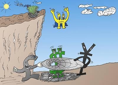 Financial Mixed Media - Falling Euroman Editorial Cartoon by OptionsClick BlogArt