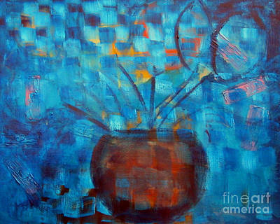 Online Shopping Painting - Falling Into Blue by Karen Francis