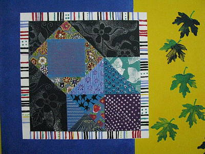 Block Quilts Mixed Media - Falling Origami Leaves by Sunny Eccleston
