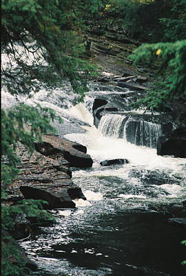 Falls On Presque Isle River Art Print by C E McConnell