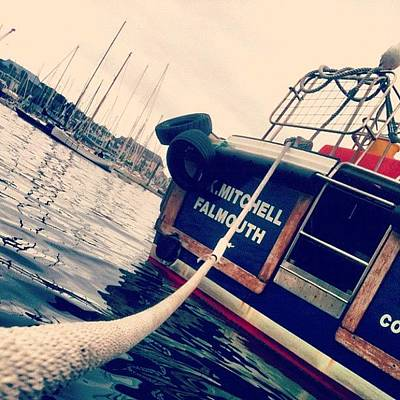 Surface Wall Art - Photograph - #falmouth #boat  #rope #water by Sophie  Jones