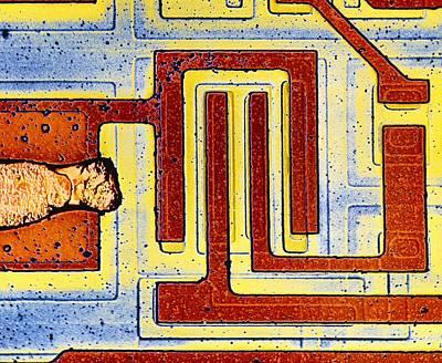 False Colour Sem Of Integrated Circuit Art Print by Dr Jeremy Burgess.