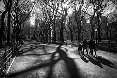 Family At Central Park In New York City Art Print