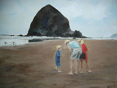 Painting - Family By The Sea by Janet Visser