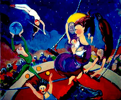Painting - Family Circus by Anne Marie Bourgeois