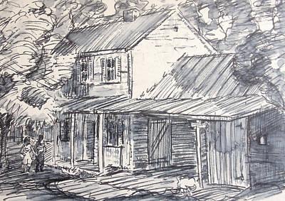 Cabin Window Drawing - Family Farm House by Bill Joseph  Markowski