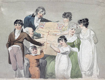 Family Group - Smith, His Wife And Six Art Print by Everett