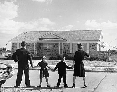 Family Holding Hands, Looking At A House For Sale (1950) Art Print