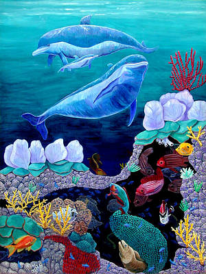 Fish Underwater Painting - Family Outing by Lyn Cook