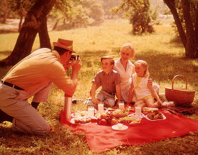 Woman With Cameras Photograph - Family Picnic by Fpg