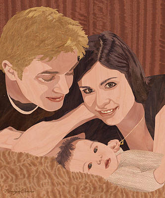 Marquetry Mixed Media - Family Portrait - Wood Art by Vincent Doan
